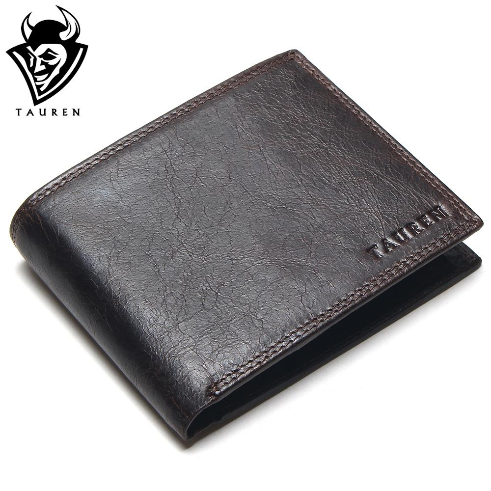 Luxury Brand High Quality Vintage Designer 100 Top Genuine Crazy Horse Cowhide Leather Men Short Wallet