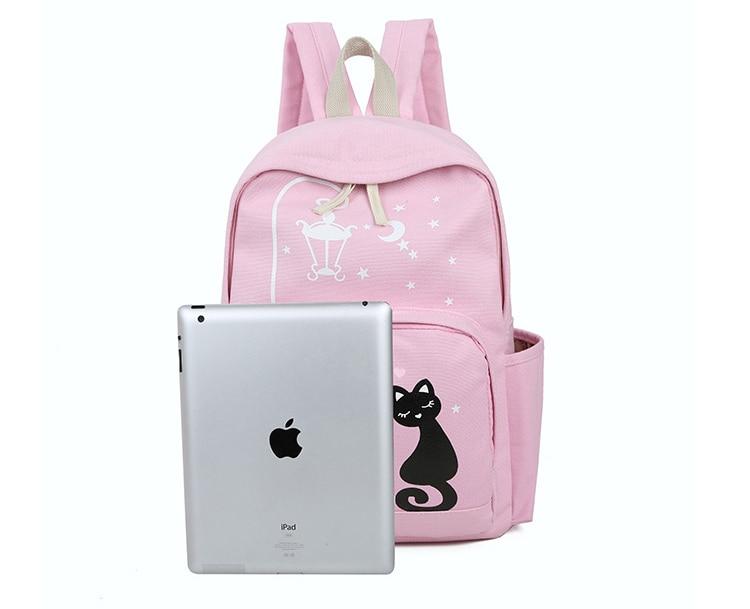 Cute Cat Print Backpack High Quality Zipper