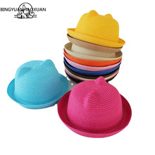 BINGYUANHAOXUAN Straw Hats Summer Baby Ear Decoration Lovely Children Character Girls and Boys Sun Hat Solid Kid Floppy Panama
