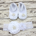 Handmade DIY Wholesale Cotton Breathable Flowers Bowknot Decor Christening Photo Props Shoes with A Headband Sets