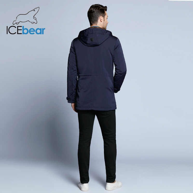 ICEbear 2019 Пальто  Для  Мужчин Регулируемый Пояс  Шляпа Съемная Осень Мужчины Новый Случайный Средней Длины Пальто Куртки 17MC017D