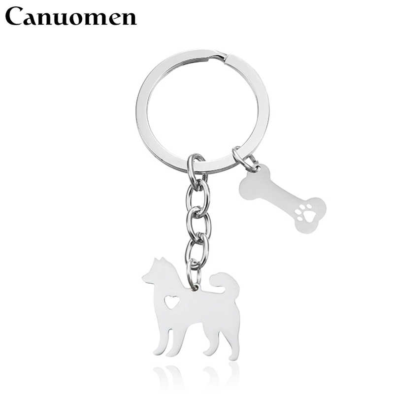 Canuomen Pet Dog Keychains Alaskan malamute Bone Hollow Paw Claw Stainless Steel Keyrings Car Key holder Fashion Gifts Jewelry