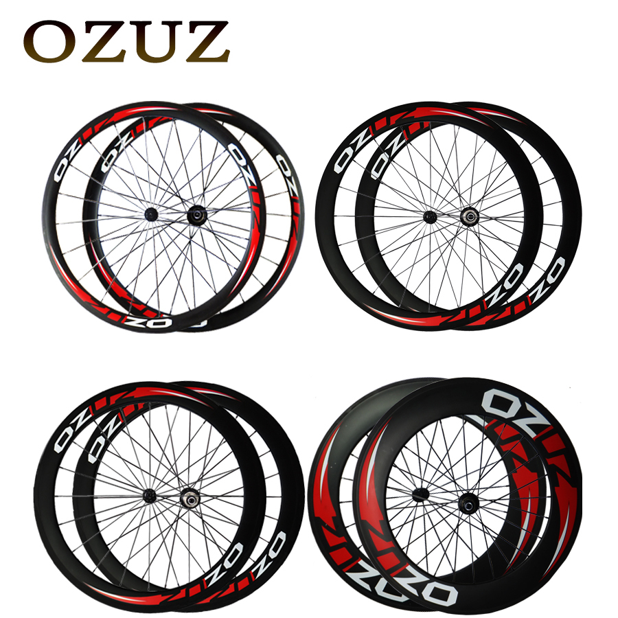 OZUZ 38mm 50mm 60mm 88mm depth Clincher Carbon Road Bike Bicycle Wheelset with Powerway R13 Hub Super Light Full Carbon Wheels sobato bikes wheel carbon road wheels bicycle chinese oem wheelset 38mm clincher or tubular powerway r13 hub