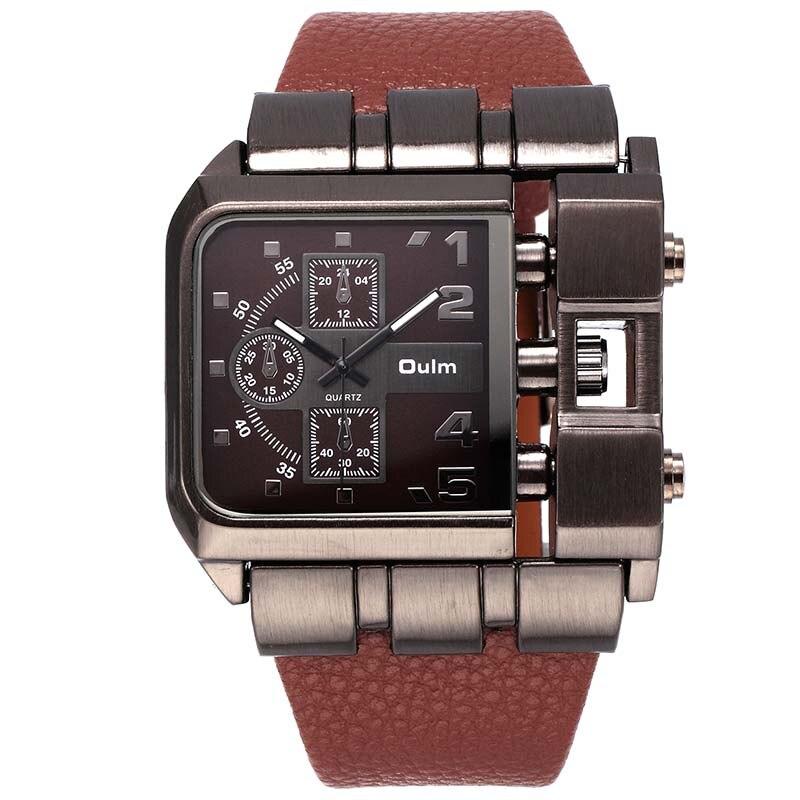 Diseño de lujo oulm cuarzo reloj de los hombres relojes moda casual cuero reloj Erkek SAAT