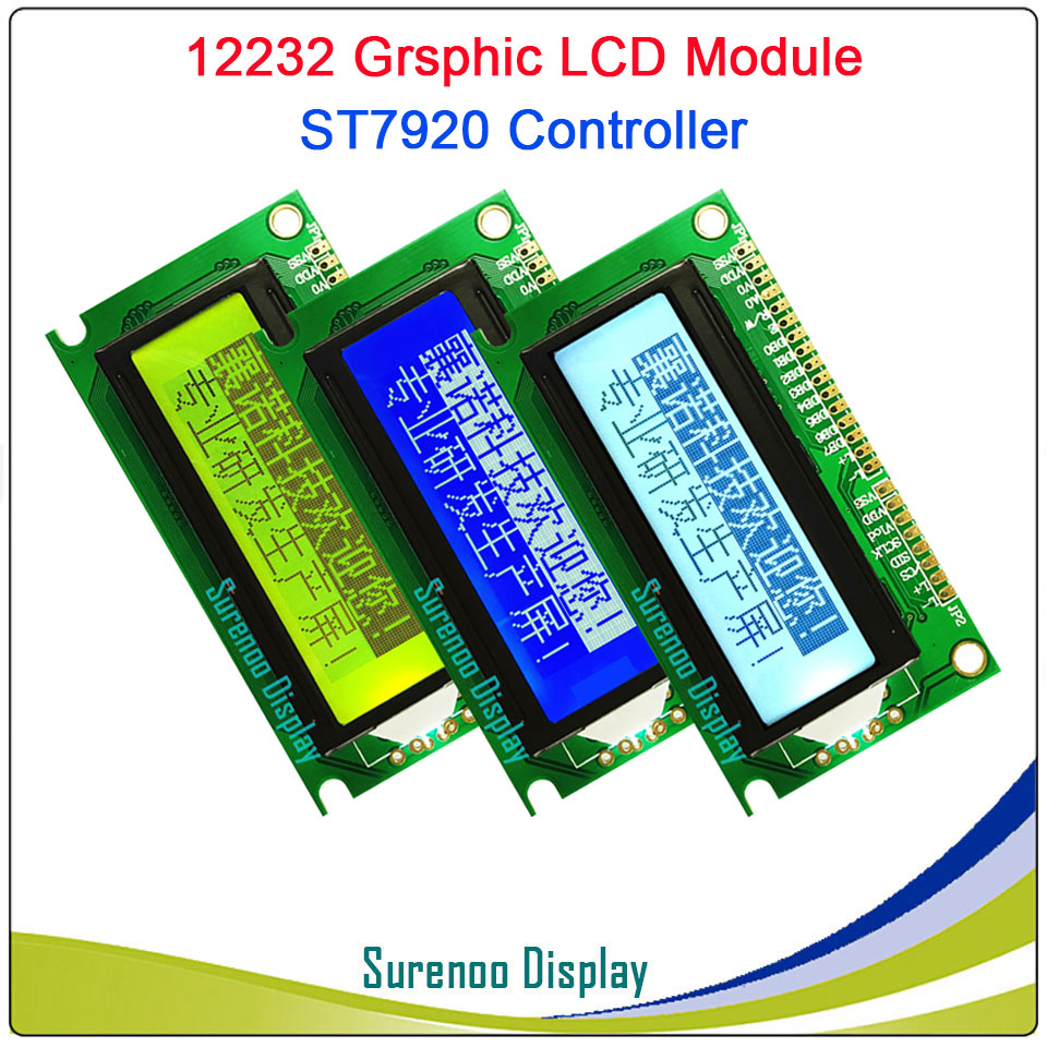 12232 122*32 Serial SPI / Parallel Graphic LCD Module Display Screen LCM Yellow Blue White Build-in ST7920/AIP31020