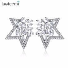 Изысканные женские серьги гвоздики luoteemi в форме звезды для