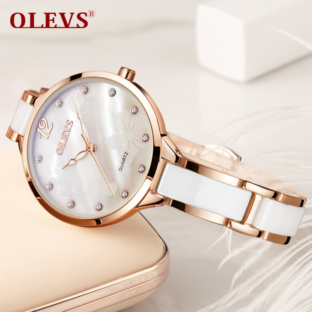 28a0bbf26e3d4d OLEVS Femmes En Céramique Montres Japon Mouvement Quartz Marque Montre-Bracelet  Femelle Horloge De Luxe Dames Montres pour Fille 2018