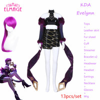 13pcs KDA Evelynn Cosplay Costume LOL KDA Cosplay LOL Agony's Embrace Costume K/DA Women Outfit Sex for Halloween clothes+wig