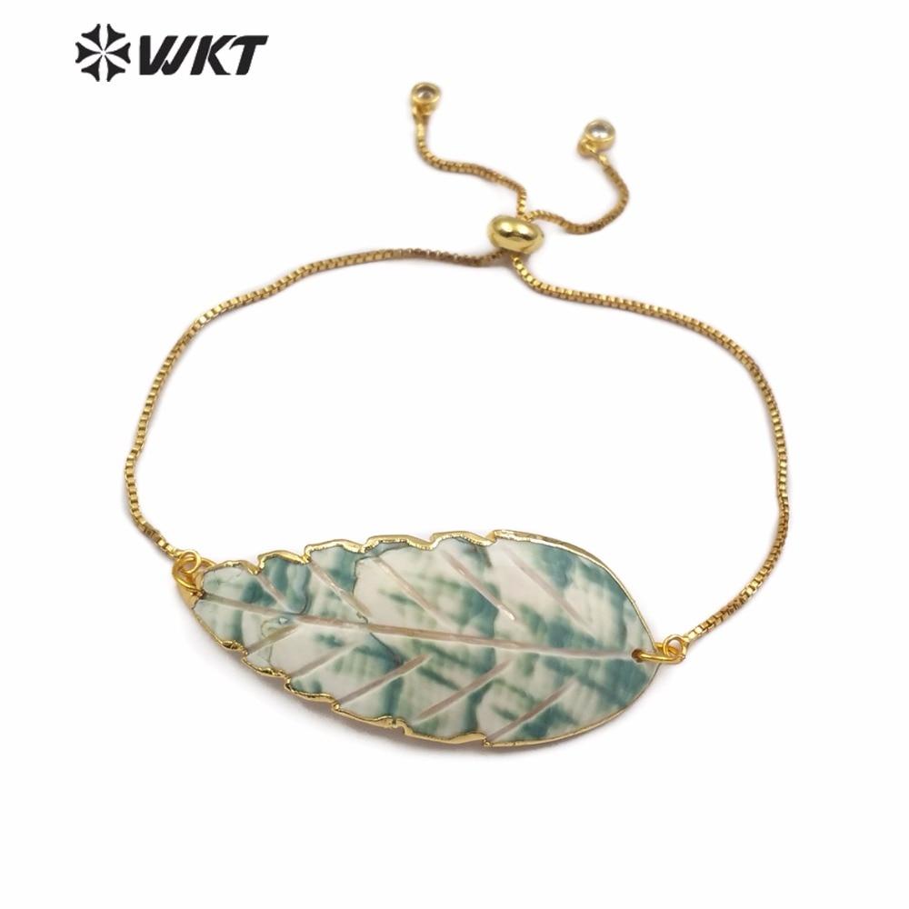 WT B446 WKT naturel trompette coquille Bracelet vert plante feuille forme coquille ornement or lunette avec gravure Bracelet réglable-in Charme Bracelets from Bijoux et Accessoires    1