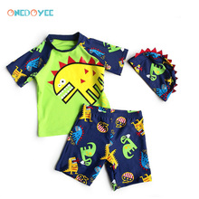 ONEDOYEE New 2017 Boys Swimsuits 3pcs/set Hat+Shirts+Trunks Children Kids Swimwear For Boys Beachwear Sports Bathing Sutis