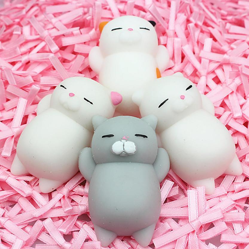 4pcs Cute Mochi Squishy Cat Squeeze Healing Fun Kids Kawaii Toy Stress Reliever kids gift Interesting Toys