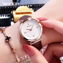 SANDA 2018 Veins Dial Design Ladies Watches Fashion Dress Quartz Watch Women Popular Brand Leather Wristwatch