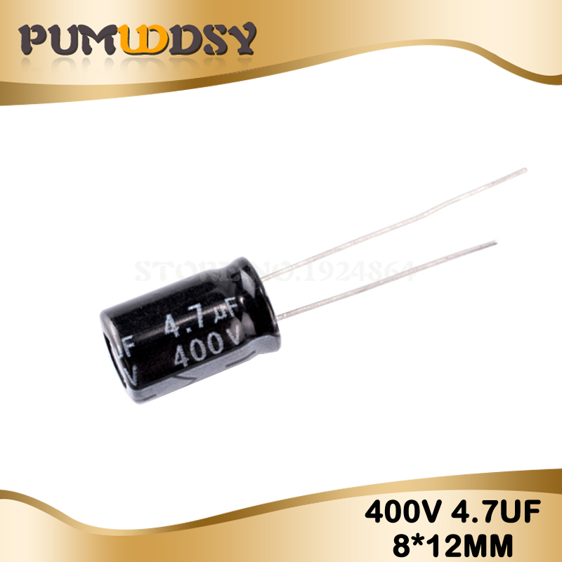 20 Higt Quality 400V4.7UF 8*12mm 4.7UF 400V 8*12 Electrolytic Capacitor