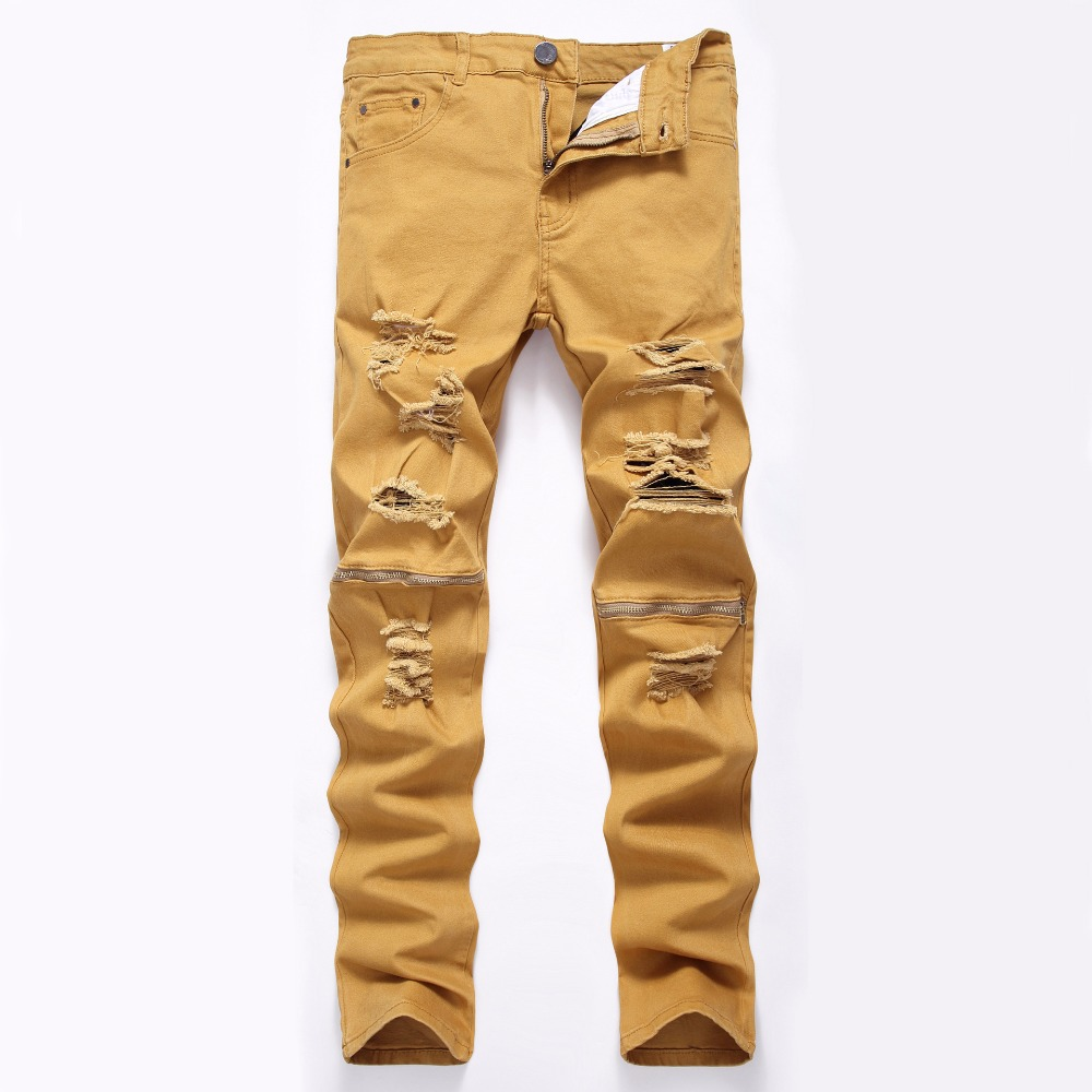 2019 Men Women Skinny   Jeans   Khaki White Biker   Jeans   Straight Zipper Ripped Denim Destroyed Cotton Casual Plus Pants