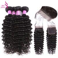 Real Beauty Peruvian Deep Wave Hair 3/4 Bundles With Closure Hair Human Hair Weaves Bundles With Closure Remy Hair Extensions
