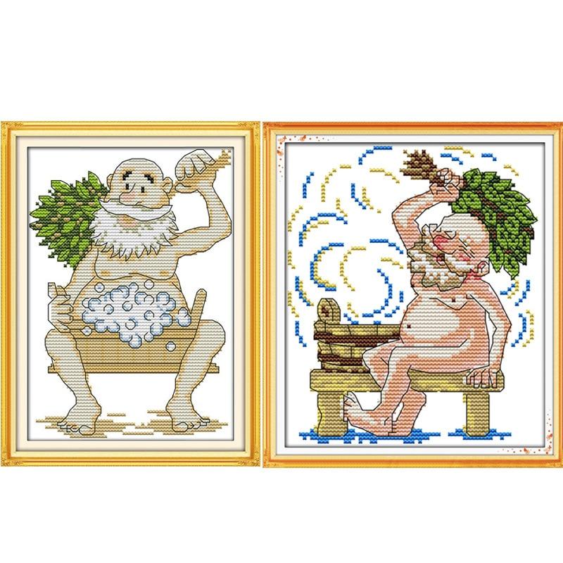 อาบน้ำนับปักครอสติ 11CT พิมพ์ 14CT DMC ชุดปักครอสติ DIY จีนผ้าฝ้ายชุดปักเย็บปักถักร้อยเย็บปักถักร้อย