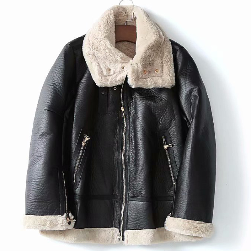 Vintage Warm Women Fur Jacket Overcoats Brand Woman Fur Leather Jackets Velvet Overcoat New Arrivals 2019 European Style A424