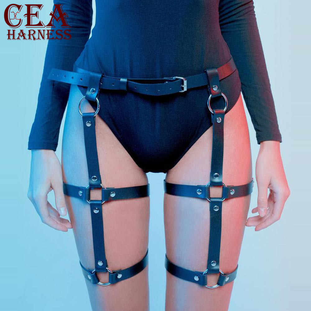 CEA.HARNESS Sexy Leather Harness Garter Belts Women Waist To Leg Bondage Cage Straps Bra Garter Body Belt