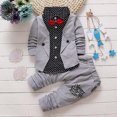 2 pcs terno cavalheiro!! Meninos da criança Do Bebê Crianças bow tie Tops + Calças Compridas Roupas Roupas de outono Definir