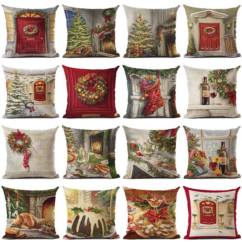 Christmas Trees Rings Turkeys Cotton Linen Pillowcase Cushion Decorative Pillows Use For Home Sofa Car Office Almofadas Cojines