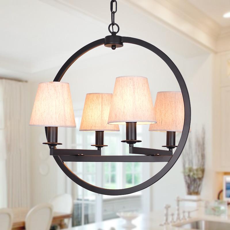 Подвесные светильники Винтаж лампа Ткань абажур для кухни освещение американский стиль столовая Ретро Лофт подвесной светильник спальня