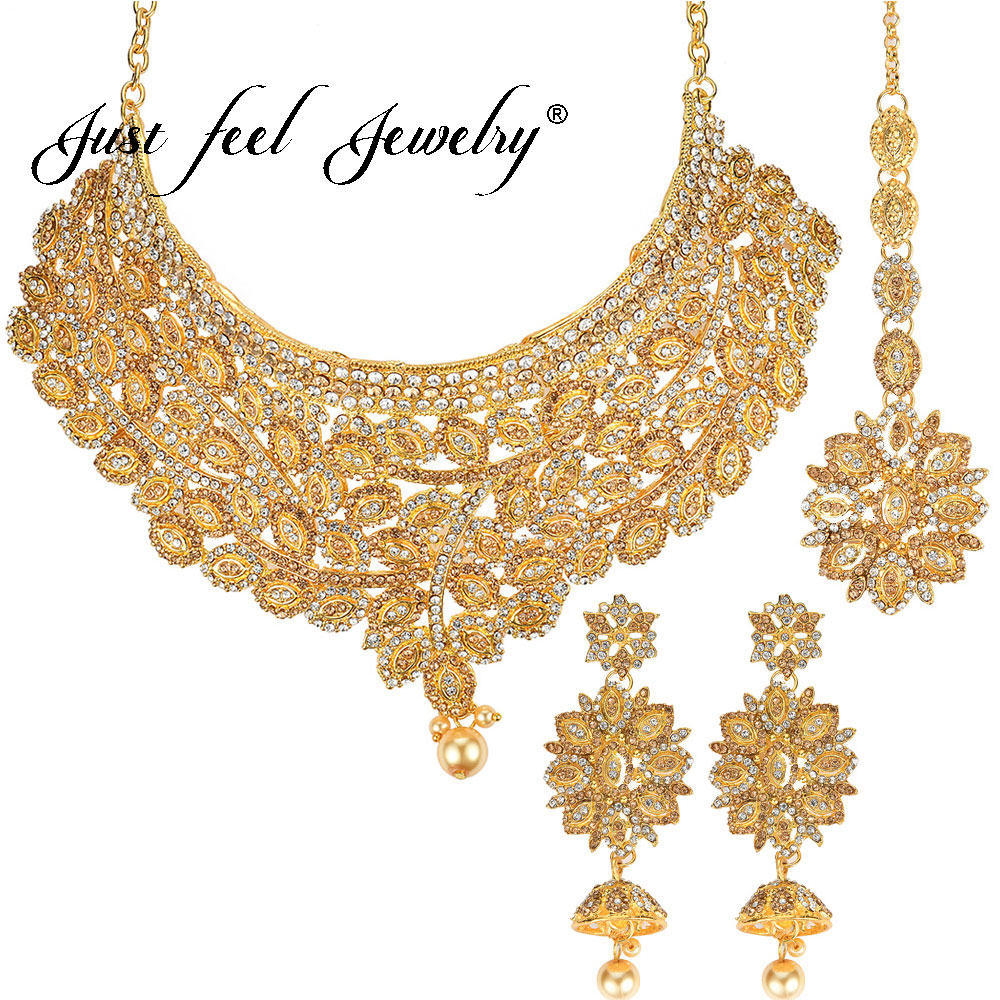 цена JUST FEEL Dubai Gold Color Jewelry Sets Indian Luxury Crystal Beads Flower Fashion Necklace Earrings Headdress Wedding For Women