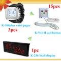 Longo alcance sem fio paging sistema para clínica ; hospital com o centro de exibição 3 smrat relógios para 3 enfermeira 15 campainhas de chamada de enfermagem
