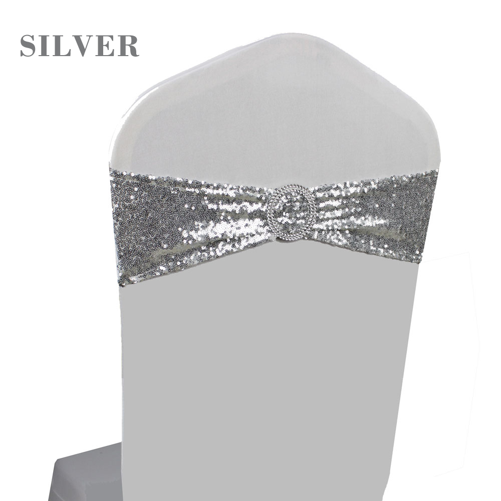 100pcs Silver Gold Sequin Chair Sash with Round Heart Buckle Wedding Party Banquet Decor Sequin Chair