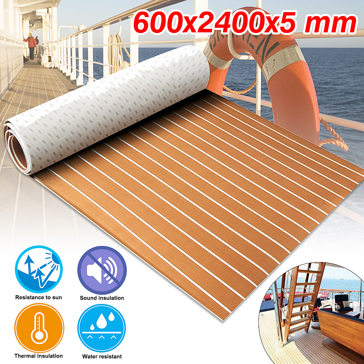 New Self Adhesive 600x2400x5mm Brown White Teak Decking