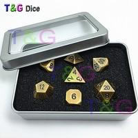 TOP Quality NEW Bronze Metal 7 Dice Set D4 D6 D8 D10 D D12 D20 For