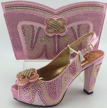 2016 New Matching Italian Shoes And Bag Set pink color Open Toe Heels Sandal African Shoes And Bag Set MJY1-21