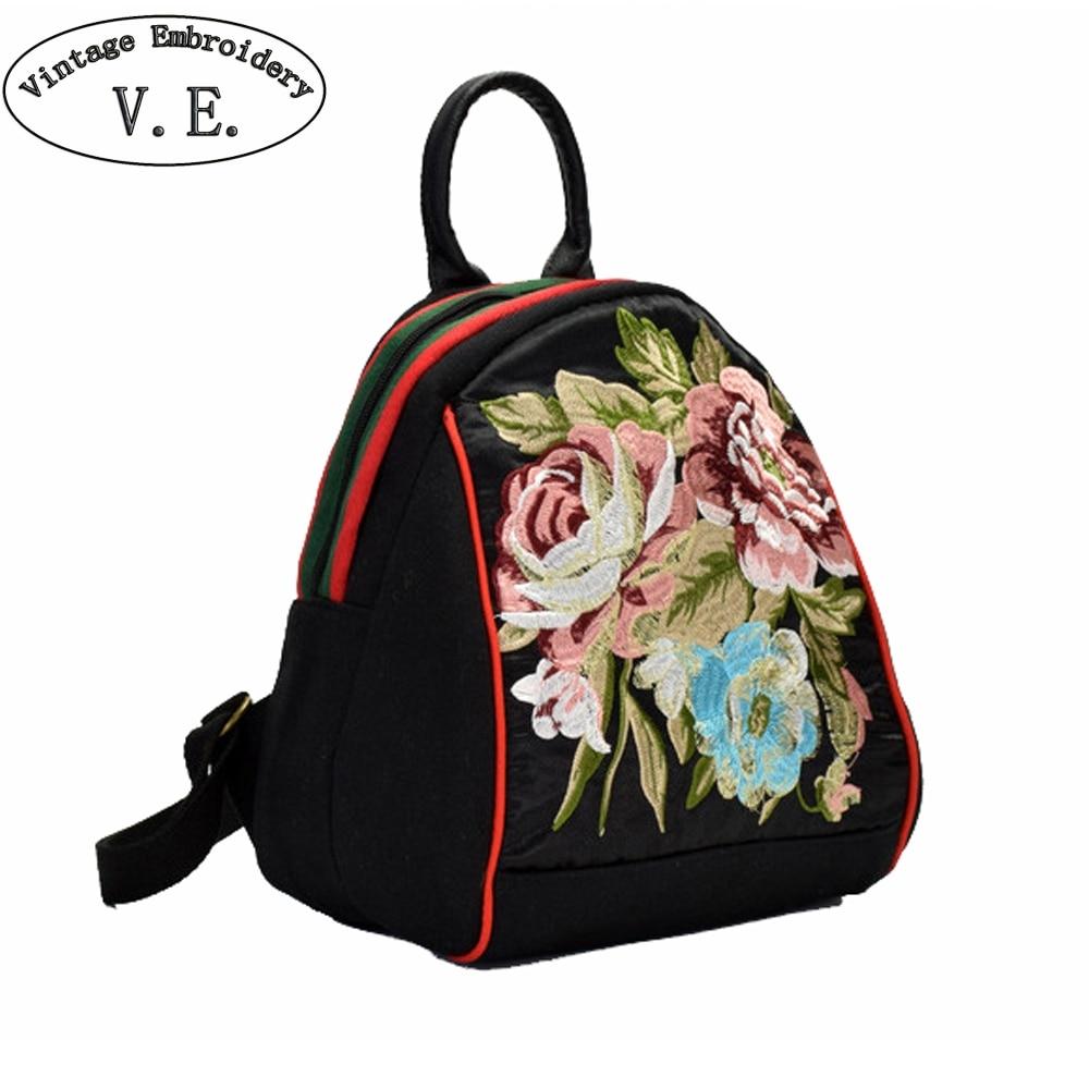 New Design Wome's Backpack Embroidered Canvas Shoulder Bag Teenager Girls Cute Mini Travel  School Backpacka Rucksack Mochila