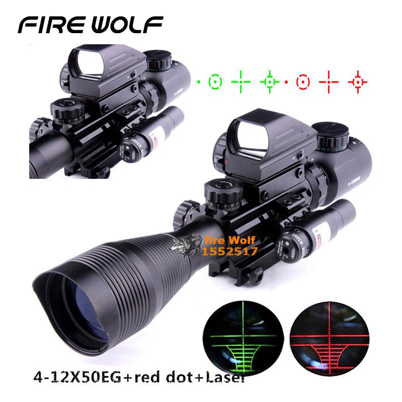 4-12x50eg Tactical Rifle Scope With Holographic 4 Reticle Sight & Red Laser Combo Airsoft Gun Weapon Sight Hunting Telescope chinese crochet knitting book beginners self learners for learn how to knitting different shape pattern