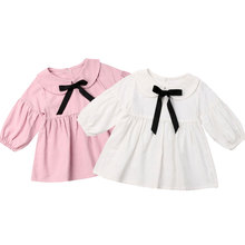 6M-3Y Toddler Baby Girls Long Sleeve Dress Princess Bow Party Birthday Dresses For Baby Girls Vintage Costumes Autumn Dress baby girl winter princess dresses vintage red lace long sleeve new year costumes dresses christmas evening party birthday dress