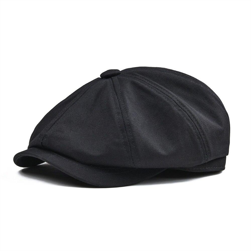 BOTVELA Newsboy Cap hombres sarga algodón ocho Panel sombrero de Baker Boy gorras Retro grande sombreros masculinos boina negro 003