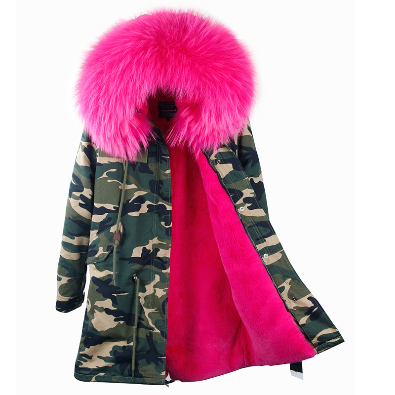2017 women winter camo parkas large raccoon fur collar hooded coat outwear 2 in 1 detachable lining  Long jacket brand style 2017 winter new clothes to overcome the coat of women in the long reed rabbit hair fur fur coat fox raccoon fur collar