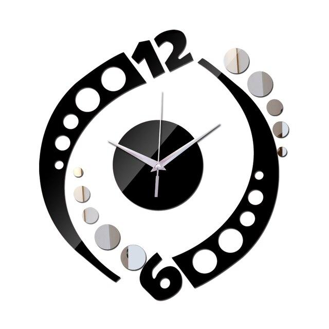 2016 Nouvelle Arrivee Argent Et Noir Carres Horloge Murale Design