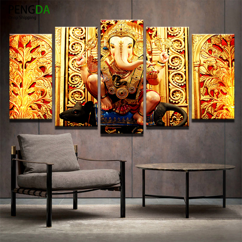 Canvas Hd Printed Pictures Frame Home Decor 5 Pieces Elephant Head God Painting India Tibetan