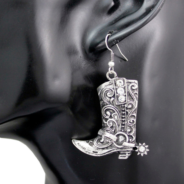 38c33d906 Western Wild West Silver Cowgirl Boots Spur Rodeo Earrings Fancy Dress  Costume Steampunk Jewelry