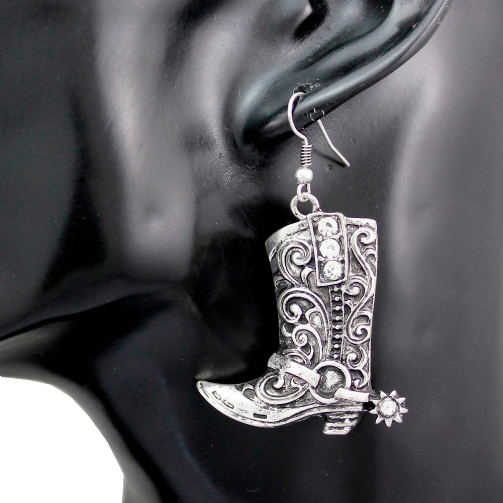 Western Wild West Silver Cowgirl Boots Spur Rodeo Earrings Fancy Dress Costume Steampunk Jewelry