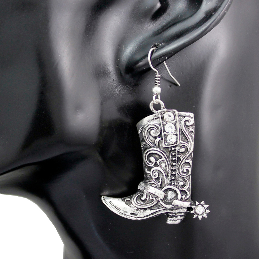 Western Wild West Silver Cowgirl Boots Spur Rodeo Earrings Fancy Dress  Costume Steampunk Jewelry(china