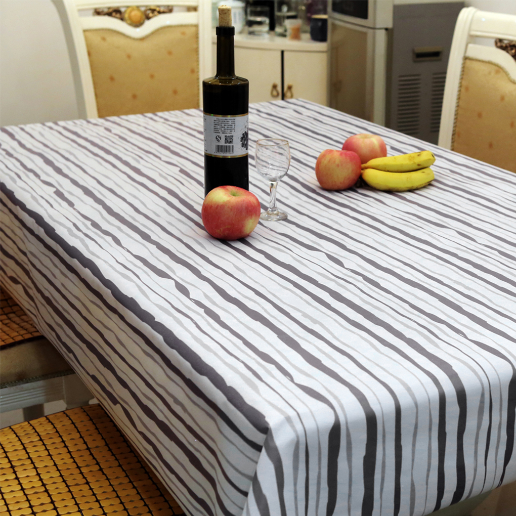 Peva Table Cloth Stripe Printed Table Covers Waterproof Oilproof