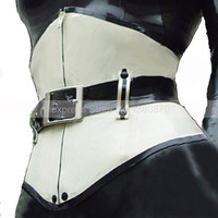 Sexy Unisex 1mm Latex White and Black Corset Suit Catsuit with Belt Underbust Bustier S LCC007