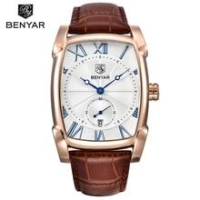 Men Watches BENYAR Brand Luxury Waterproof Genuine Leather Quartz Watch Classic Rectangle Case Auto Date Fashion Casual Watches