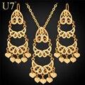 U7 borlas de la vendimia sistemas de la joyería para las mujeres de moda chapado en oro del corazón del rhinestone collar pendientes establecidas s623