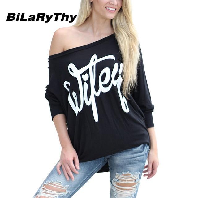 BiLaRyThy Primavera Outono Ocasional das Mulheres de Slash Long Neck Batwing Sleeve Tops Tees Moda Letras Impressas Soltas Camisas Pretas de T