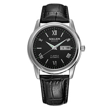 SOLLEN 41mm diámetro Hombres Cuarzo de los Deportes del negro de plata de rostro negro Roma Top Marca de Lujo de Cuero Relojes de Pulsera Relogio Masculino