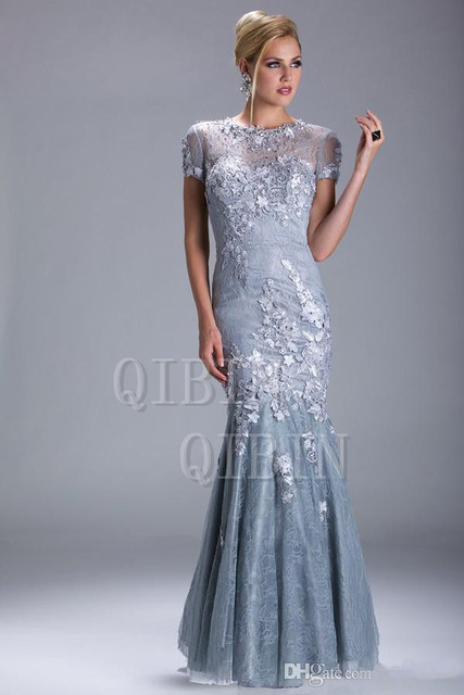 2018 Sexy Silver Evening Dresses Short Sleeves Beaded Mermaid/Trumpet Mother Of The Bride Dresses 28799