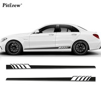 Car Styling Gloss Black Auto Side Skirt Car Sticker Racing Stripe Side Body Garland Lines Decals