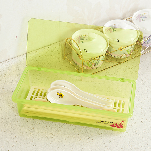HD Drain dust cutlery storage box simple and stylish plastic chopsticks box chopsticks cage Kitchen Storage Products